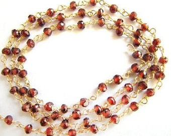 """Red Garnet Rosary Chain 12 to 18"""" Gold Vermeil Wire Chain Rosary Beads Semiprecious Faceted Gemstone Beads Take 20% Off Jewelry Supplies"""