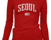 Women's Seoul LS T-shirt - Korea Long Sleeve Ladies' Tee - S M L XL 2x - 2 Colors