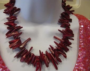 Handcrafted Massive Large Coral or Oister Necklace 116 grams