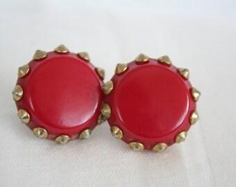VIntage Red 'n Gold Clip Earrings
