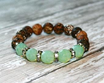 Tibetan Dzi bead bracelet, Brown wood grain agate beads, Brown stone bracelet, Brown stacking bracelet,