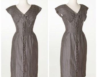 Sophisticated 50s dress // Vintage CHIC Cute Polka Dot GiGi Young Dress Silk Rare Small Medium