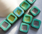 14mm . Czech Pressed Glass Carved squares with picasso .  summer blue green with copper metallic picasso . 3 beads