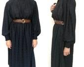 Black Midi Vintage Dress, full sleeves, high neck, size Medium