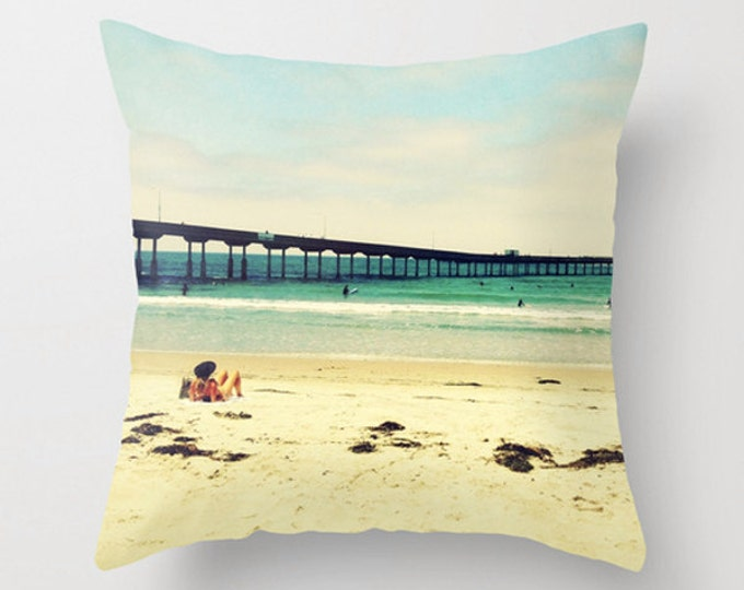 Beach House Decor, Watching the Surfers, California Coast, Pier, 18x18 22x22 Cushion Pillow Cover, Home Decor Throw Pillow, Beach Summer