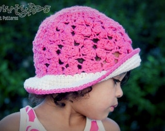 Lacey Flower Sun Hat CROCHET PATTERN instant download - with cloche, ruffled, and bucket brim