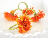Autumn Flower Napkin Rings Orange and Green Spring Wedding Table Settings Hostess Gift Flowers w/ Striped Ribbon for Parties. Gift Set of 4