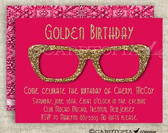 HIPSTER BIRTHDAY PARTY Invitations for Adult Woman or Girl Printable Custom Cards Party Invitations - 175425754