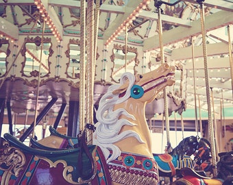 Vintage Boardwalk Carousel Photograph, Carnival Photography Print, Carnival Nursery Art, Retro Boardwalk Carousel Horse - Boardwalk Carousel