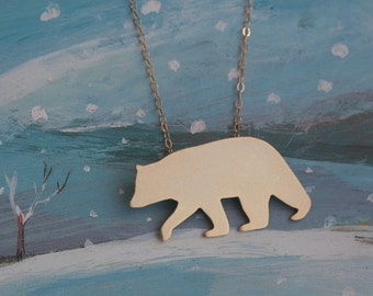 Gold Polar Bear Necklace , Polar Bear Silhouette Charm , Polar Bear Jewelry , Winter Jewelry , Christmas Gift