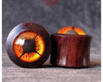1/2  Wood Ear Plugs, Handpainted Orange Eyes, Gauges, Glass Plugs, Orange Plugs, Gauges, Ear Gauges, Eye Plugs, Earlets, Pierced Eye Design