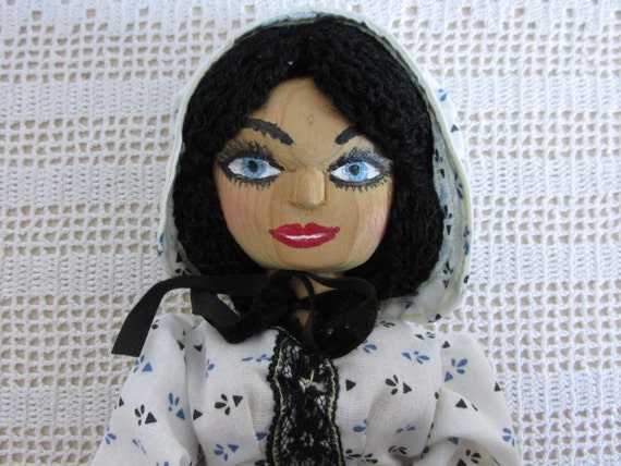 Vintage Doll, handmade carved wooden doll, Toy collector, Altered Art, Mixed Media, vintage doll collector, prairie girl wood doll, DL2