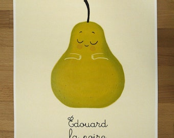 A3 Pear illustration - Edouard la poire - A3 Print - Lovely Fruits series