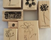 Heartfelt Thanks Stampin' Up set of 9 wood mounted rubber stamps
