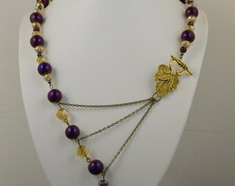 Wine & Gold Adrienne Adelle Signature Necklace - Asymmetrical Statement Necklace - Vines and Leaves
