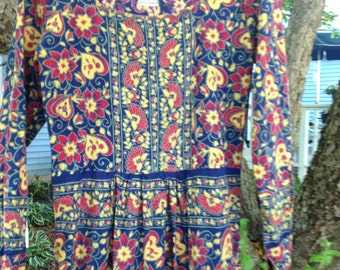 Vintage Indian 70s Cotton hippie boho festival ethnic maxi dress