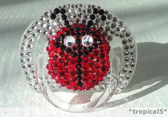 LADYBUG Swarovski Elements Pacifier Princess Prince Red Baby Girl Boy BLING Infant Rhinestone Diamond Sparkle Encrusted Binky Dummy 6-18m