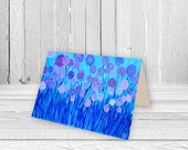 Turquoise Blue & Purple Abstract Flowers Greeting Card - Birthday Card, Wedding Card, New Home Card, Art Card, Collectible A5 Card