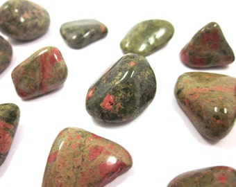 "Unakite Tumbled Stones 3 Crystals 50% off SALE - Polished 20mm - 28mm (.79"" - 1.1"") SALE"