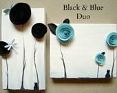 Black and Robins Egg Blue-Mixed Media Art-Paper Rosettes on Upcylced Wood-Dorm Room, Office Decor, Home Decor, Nursery Art