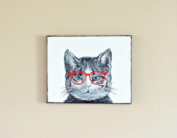 Hipster Geek Cat Original Painting Home Wall Decor