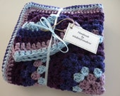 Crochet Baby Blanket Granny Square  Matching Hat Purples Blue Stroller Carriage Car Size 32 X 32 Handmade