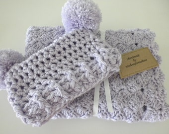 ON SALE Crochet Baby Blanket Lilac with Double Pom Pom Hat Child Stroller Carriage Handmade 24 X 24