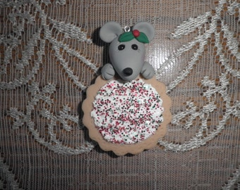 Polymer Clay Mouse- Little Mouse With Cookie Ornament.
