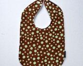 Green baby bib polka dot cotton white minky snap