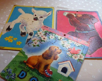 Saalfield Inlaid Puzzles Vintage Animals Preschool Spell and Play Set Three