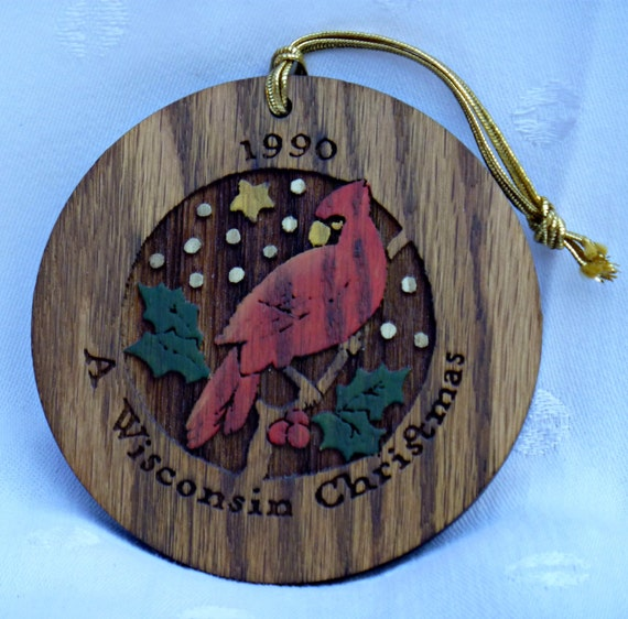 Christmas Wood Cardinal Ornament Wisconsin 1990