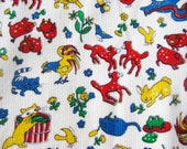 Vintage 50s Childrens Novelty Animal Print Cotton Corduroy Fabric Remnant 1 Yard