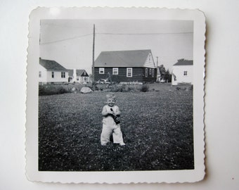 Vintage 50s Snapshot Little Boy Todder with Beer Bottle Original Photograph