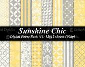 Sunshine Chic Digital Paper Pack  invitations Birthday 16 12x12 yellow cream grey