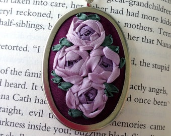 Hand Embroidered Necklace - Purple Rose Pendant - Silk Ribbon Embroidery by BeanTown Embroidery