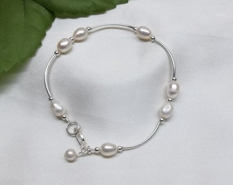 White Pearl Bracelet Sterling Silver Pearl Bracelet Adjustable Bracelet Bridesmaid Gift For Her Wedding Jewelry BuyAny3+Get1 Free