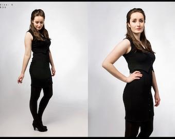 Upcycled black dress / women's / vintage / vest / sleeveless / sophisticated / size small