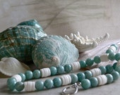 Large Teal Amazonite and White Coral Summer Fun Necklace and Earrings