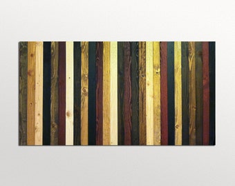 Wood Wall Art Sculpture - Stained Stripes - in Wood Stains - Modern Wood Wall Art - Abstract Wood Art
