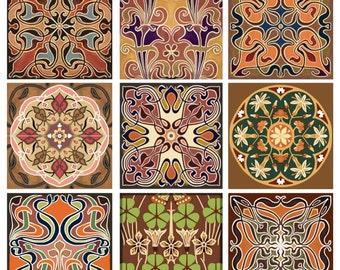 Elegant Array Decorative Tile Set Backsplash Ceramic Artistic Nine Tiles