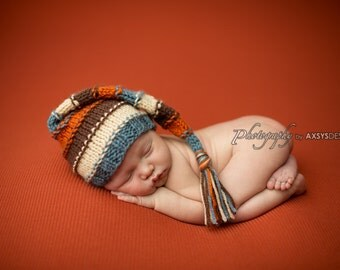 newborn photography prop-cone elf gnome long MULTI COLORED striped hat newborn 0-2 months-baby shower gift, BABY photo prop