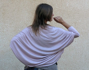 Women's Batwing Cardigan / Long sleeved Shrug Bolero / Oversized draped jersey cardigan / color Ash rose