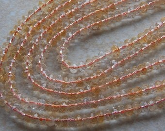 4X6mm Natural Citrine Faceted Wheel - Rondelle Polished Semi Precious Beads, 25 PC (IND1C991)
