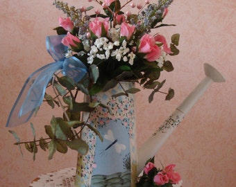Hand Painted Watering Can Floral Arrangement