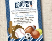 Printable SPORTS BABY SHOWER Invitation or  Great for Sports Birthday Party