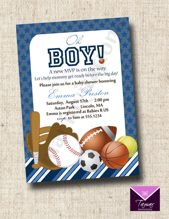 printable sports baby shower invitation or great for sports birthday