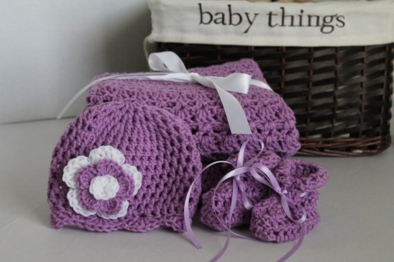 Baby Set - Orchid Purple Crochet Blanket, Hat, and Booties
