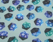 D20 blue and gray gamer dice fat quarter - geek quilting