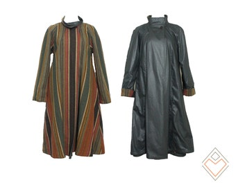 1980s vintage reversible blanket coat and rain jacket // southwestern and slate gray // womens size medium