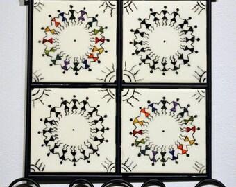 Warli Painting on Ceramic Tile